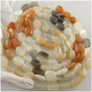 Moonstone multi color irregular oval gemstone beads (N) Approximately 7 x 8mm to 7 x 15mm 14 inch