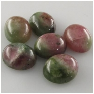 1 Tourmaline watermelon oval loose cut cabochon (N) Approximately 10 x 12mm Color variations with each cabochon