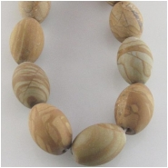 Picture Jasper puff rice matte finish big hole gemstone beads (N) Approximate size 10 x 14mm 15.5 inch 1mm hole