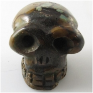 1 Turquoise Hubei carved skull big hole pendant gemstone bead (S) Approximate size 31 x 33 x 32mm 2.5mm hole top side drilled