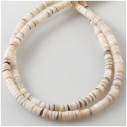 Conch shell heishi beads (N) Approximate size 3mm diameter 23 inch