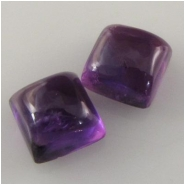 2 Amethyst puff square cabochon loose cut gemstones (N) Approximate size 6mm