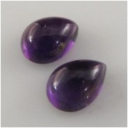 2 Amethyst pear cabochon loose cut gemstones (N) Approximate size 6 x 9mm