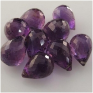 1 Amethyst Amethyst rasberry AAA faceted tear drop briolette pendant gemstone bead (N) Approximate size range 8.6 x 13mm to 10 x 13.9mm