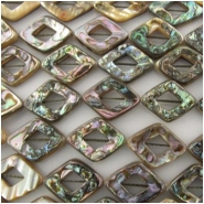 10 Abalone shell kite diamond rhombus beads Approximately 15 x 20mm 3.5 to 4mm thick, drilled top to bottom