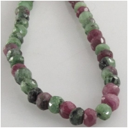 Ruby in Zoisite faceted rondelle gemstone beads (N) Approximate size 3.6 to 3.9mm 13 inch