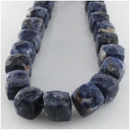 Lapis faceted puff cube gemstone beads (N) Approximate size range 7.8 to 9.3mm 7.5 inch
