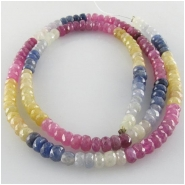 Sapphire multi color faceted rondelle gemstone beads (H) Approximate size 4.1 to 4.5mm 17 inch
