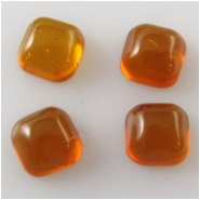 4 Amber Baltic square cushion loose cut cabochon gemstones (N) Approximate size 4.7 to 5mm square 2.2 to 2.8mm deep