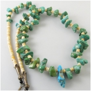 Turquoise Sleeping Beauty graduated nuggets with melon shell necklace gemstone beads (N) Approximate length 26 inches Click to see full description