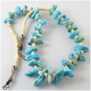 Turquoise Sleeping Beauty graduated nuggets with melon shell necklace gemstone beads (N) Approximate length 24 inches Click to see full description