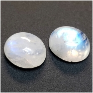 1 Rainbow Moonstone Oval Cabochon Loose Cut Gemstone (N) Approximate size 10.09 to 10.18mm x 12.23 to 12.34mm