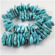 Hubei Turquoise Old Stock Center Drilled Flat Seafoam Slice Nugget Gemstone Beads (S) Approximate size 12.1 x 19.3mm to 16.9 x 34.5mm 8 inches