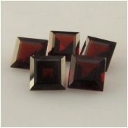 2 Garnet faceted square loose cut gemstones (N) Approximate size range 6.8 to 7mm