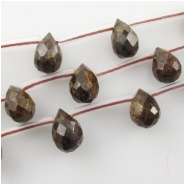 Bronzite faceted tear drop briolette gemstone beads (N) Approximate size 6 x 9mm  15.5 inch 24 beads
