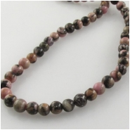 Rhodonite round gemstone beads (N) Approximate size 4mm 15.3 inch