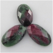 1 Ruby in Zoisite faceted long oval AA gemstone cabochon (N) Approximate size 14 x 23mm