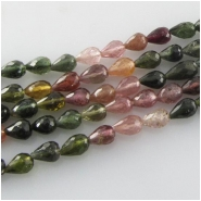 Tourmaline faceted tear drop gemstone beads (N) Approximate size 4.4 x 5.6mm to 4.6 x 6.7mm long 14 inch