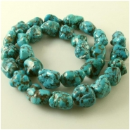 Turquoise Hubei old stock web nugget gemstone beads (N) Approximate size 11 x 13mm to 13 x 17mm 15.75 inch