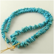 Turquoise Sleeping Beauty graduated chip nugget Zachery process gemstone beads Approximate size 4 x 4mm to 5 x 10mm 18 inch
