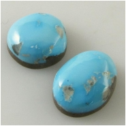 2 Turquoise Sleeping Beauty Zachery process cabochon gemstones Approximate size 10.5 x 11mm and 9.7 x 12.7mm Backed