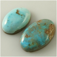 2 Turquoise Turquoise Mountain cabochon gemstones (N) Approximate size 14 x 20 x 6.5mm and 15 x 24 x 5.9mm deep. Backed.