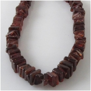 Garnet rhodolite flat square gemstone beads (N) Approximate size range 2.4 to 4.5mm square 8 inch