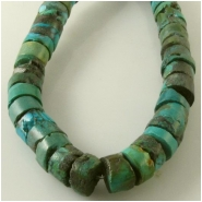 Turquoise Hubei rustic heishi gemstone beads (S) Approximate size 8.8 to 9.5mm diameter 15 inch
