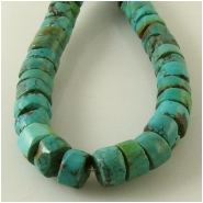 Turquoise Hubei rustic heishi gemstone beads (S) Approximate size 8 to 8.5mm diameter 15 inch