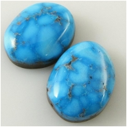 2 Turquoise Kingman cabochon gemstones (N) Approximate size 12.4 x 15.8mm and 13.1 x 15.8mm, 5.3 and 5.5mm deep