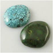 2 Turquoise Hubei  cabochon gemstones (S) Approximate size 24 x 26 x 6mm and 23 x 27 x 6mm deep
