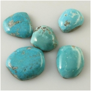 5 Turquoise Mongolian cabochon gemstones (N) Approximate size 13.6 x 16.9mm to 18.3 x 20.7mm 4.4 to 6mm deep Backed
