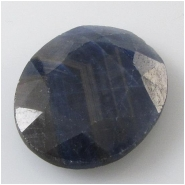 1 Sapphire blue faceted raised cabochon gemstone (N) Approximate size 21.3 x 26.4 x 5.5mm deep