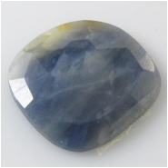 1 Sapphire blue faceted flat back rose cut cabochon gemstone (N) Approximate size 23.3 x 24.3mm to 23.7 x 24.4mm x 4.7mm deep
