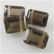 6 Smoky Quartz octogan step cut rectangle briolette gemstone beads (N) Approximate size 4.7 x 6.5mm to 5.2 x 7.2mm Top side drilled