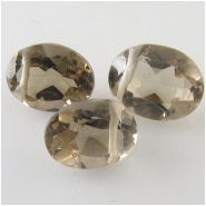 4 Smoky Quartz faceted oval cut briolette gemstone beads (N) Approximate size 5.6 x 7.7mm to 6.1 x 8.1mm Top side drilled